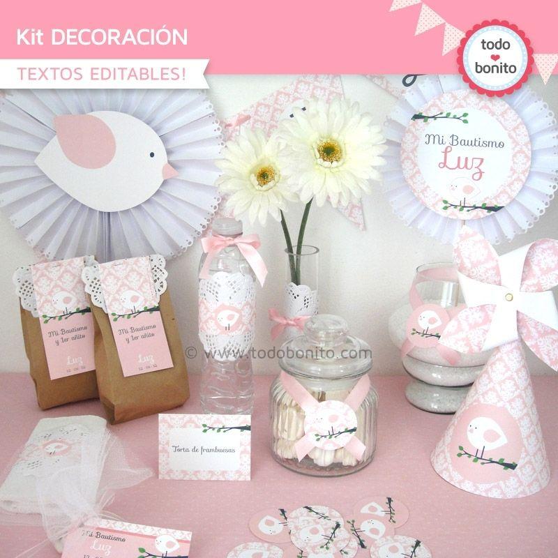 Pajarito rosa kit decoraci n todo bonito cumplea os for Todo decoracion