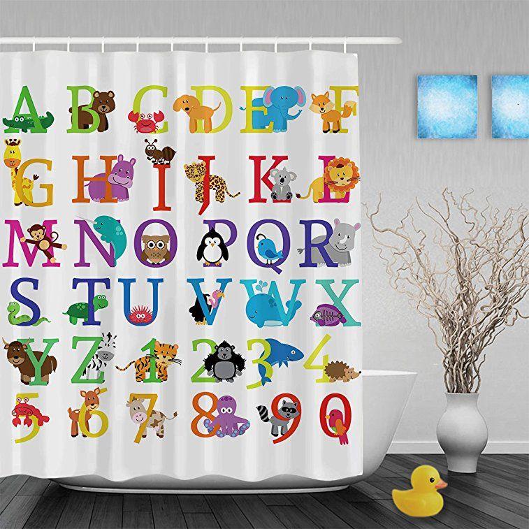 Cartoon Animals Alphabet Letters & Nunbers Kids Nursery Bathroom ...