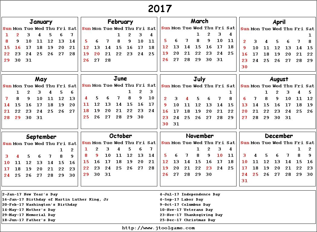 2017 calendar with holidays usa