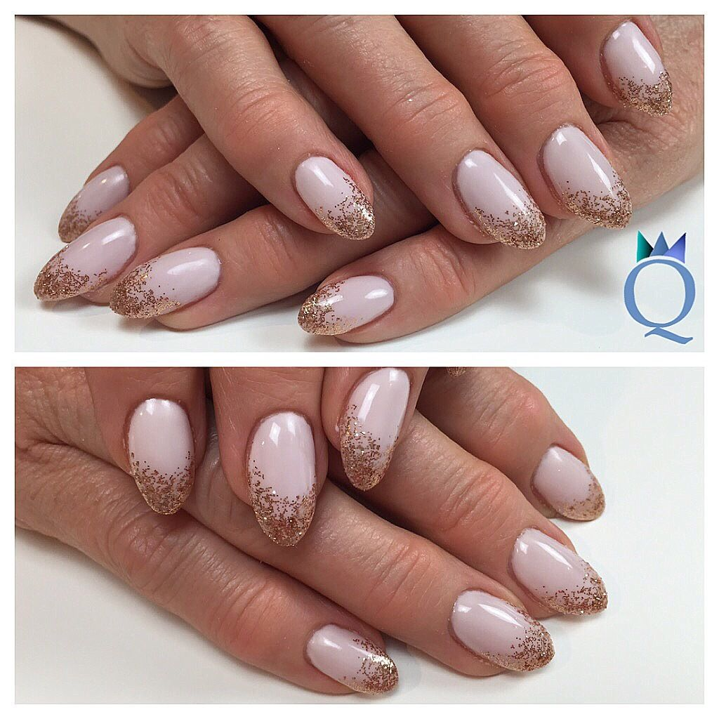 almondnails #gelnails #nails #rosegold #glitter #fade #mandel #form ...
