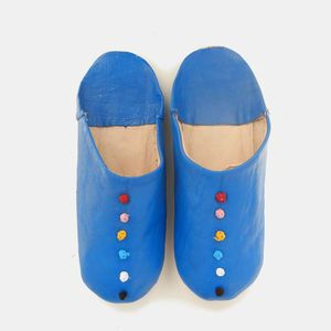 Moroccan slippers | Blue leather baouches