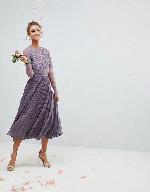 Bridesmaid Long Sleeve Lace Pleated Midi Dress Wedding Day