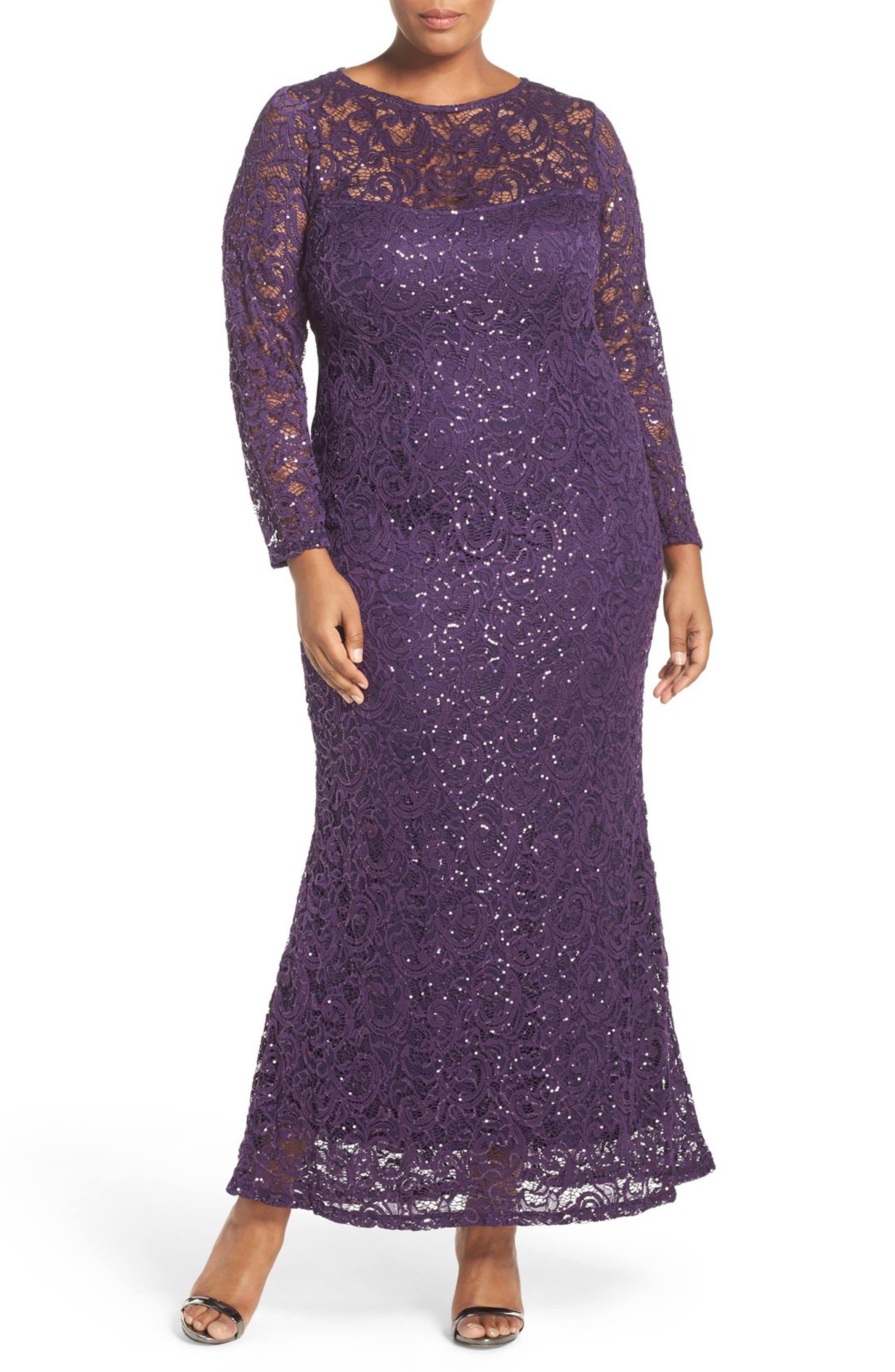 Mother of the bride wedding dresses nordstrom  Main Image  Marina Illusion Yoke u Long Sleeve Lace Gown Plus Size