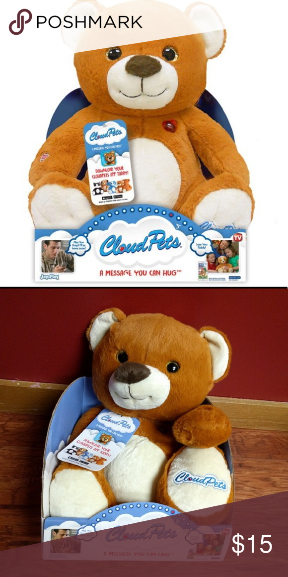 """Brand New 12"""" Bear CloudPet @ Recordable stuffed animal works wirelessly to record and send messages between your phone or tablet and the CloudPet  @ Be there for storytime, bedtime, and playtime?CloudPet can read two stories, sing 5 classic lullabies, and play an interactive game  @ Built-in parental controls let parents approve all messages before they are sent  @ Works with iPhone, iPad, and Android devices with Bluetooth 4.0  @ Requires 3 AA batteries  @ Measures about 12"""" L Other"""