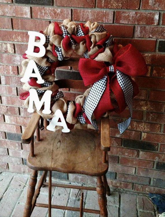 Photo of Alabama Wreath, Crimson Tide, Roll Tide Roll, Burlap Wreath, Alabama, Alabama Hanger, Crimson Wreath, College Football, Alabama Football