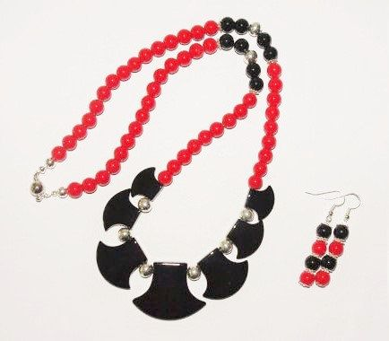 Handmade Beaded Necklace Set RedCoral and Black by SCLadyDiJewelry, $24.95