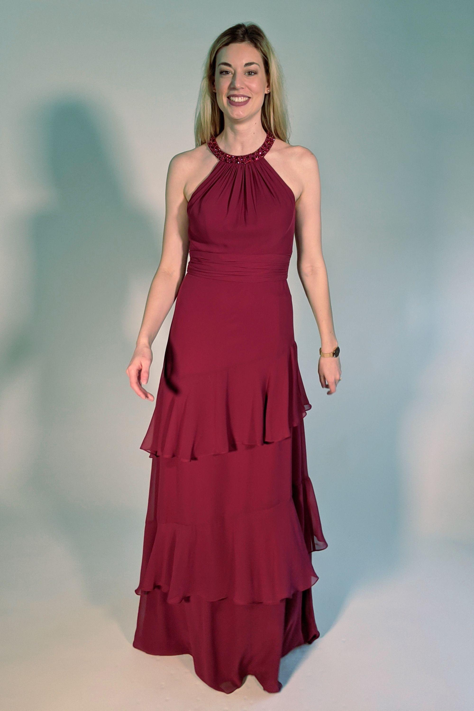 Langes Abendkleid Stufenkleid mit Volants in Dunkelrot von Rosera