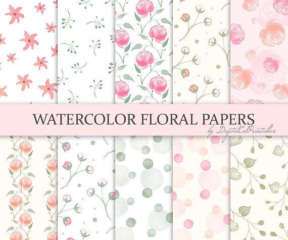 Greenry blue floral watercolor digital paper digital download paper set blue green botanical spring wedding watercolor papers #dp4