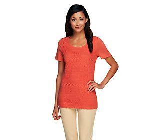 Liz Claiborne New York Short Sleeve Lace Front Knit Top