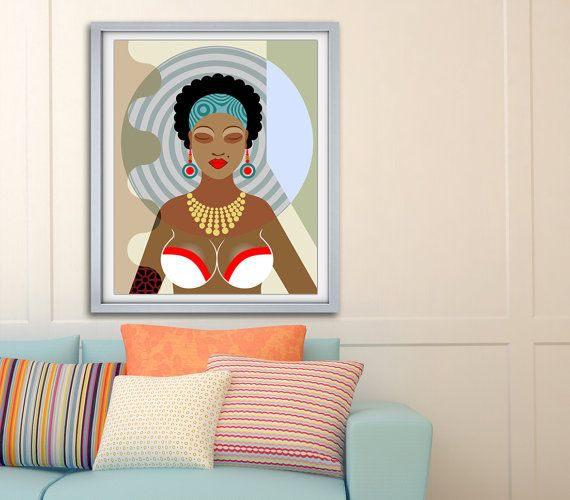 Black Queen Painting Natural Hair Art Black Female African American African Wall Art African Art Paintings Afrocentric Decor