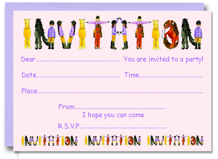 love this horse riding party invitation from wwwalphabetgiftscouk - Horse Party Invitations