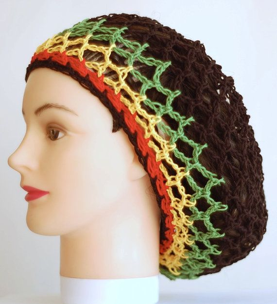 Black mesh snood hat in rasta colors, net tam for dreadlocks