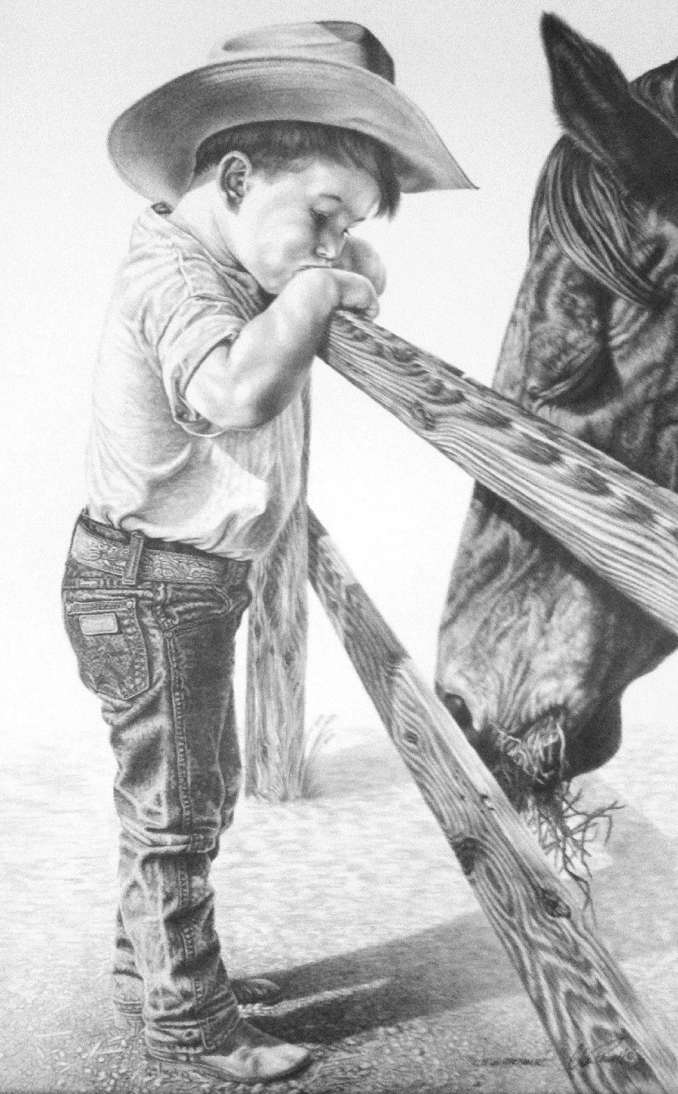 Western horse pencil drawings glen powellpencildrawingswesternart ranchinghorseskidscowboy