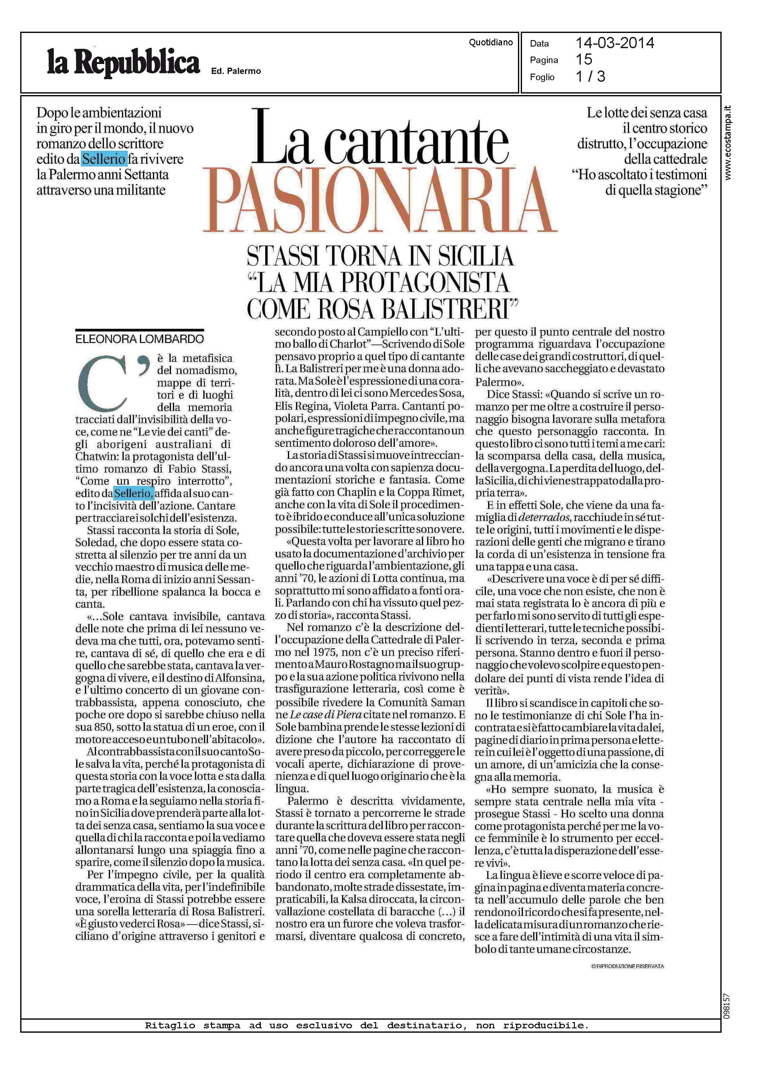 Questa bellissima pagina di Eleonora Lombardo su la Repubblica-Palermo parla del nuovo romanzo di Fabio Stassi, 'Come un respiro interrotto'.
