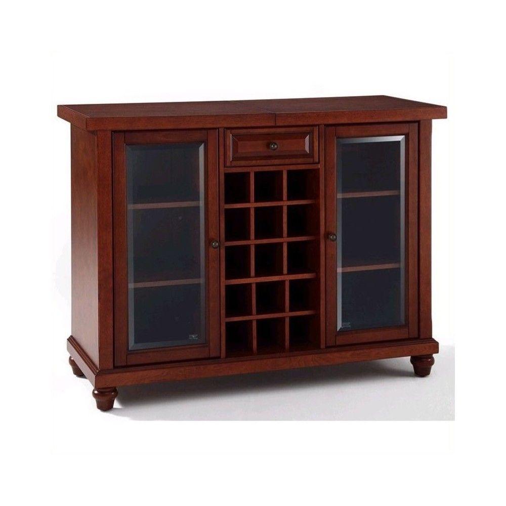 Wood Sliding Top Home Bar Cabinet in Vintage Mahogany ...