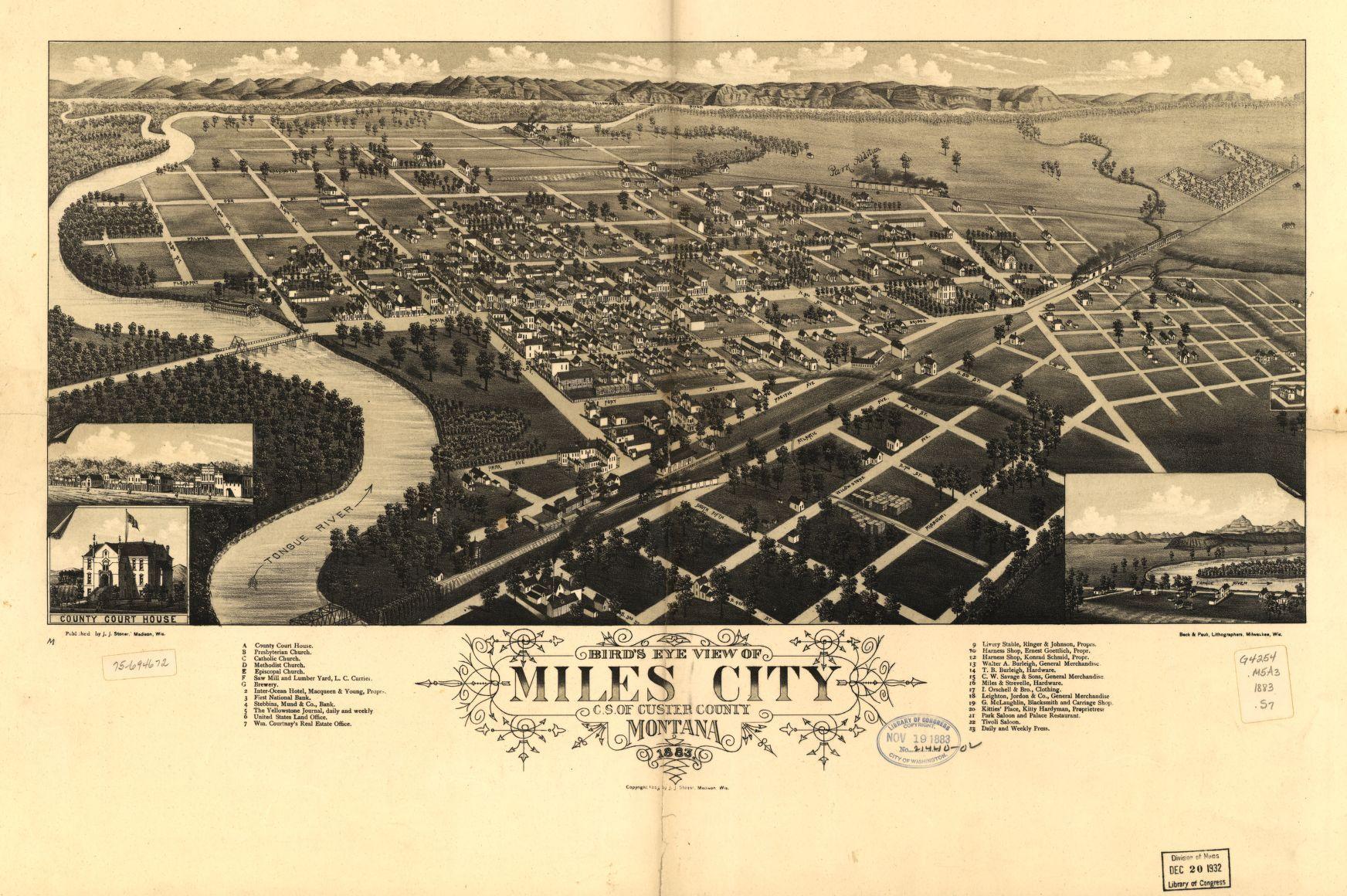 Bird/'s Eye View 1901 San Jose California Vintage Style City Map 24x36
