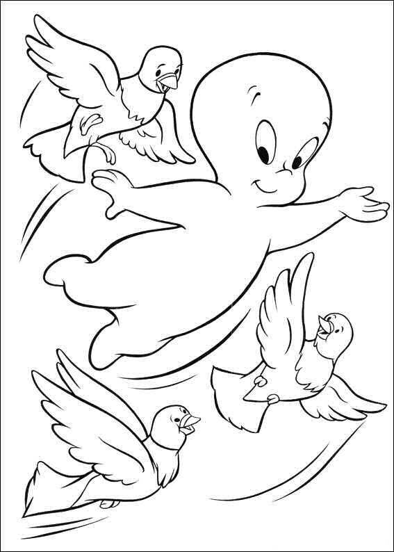 coloring page Casper the friendly ghost - Casper flies with doves ...