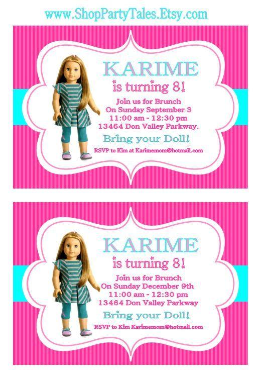 AMERICAN GIRL Doll Printable birthday Girl party INVITATION Invite – American Girl Doll Party Invitations