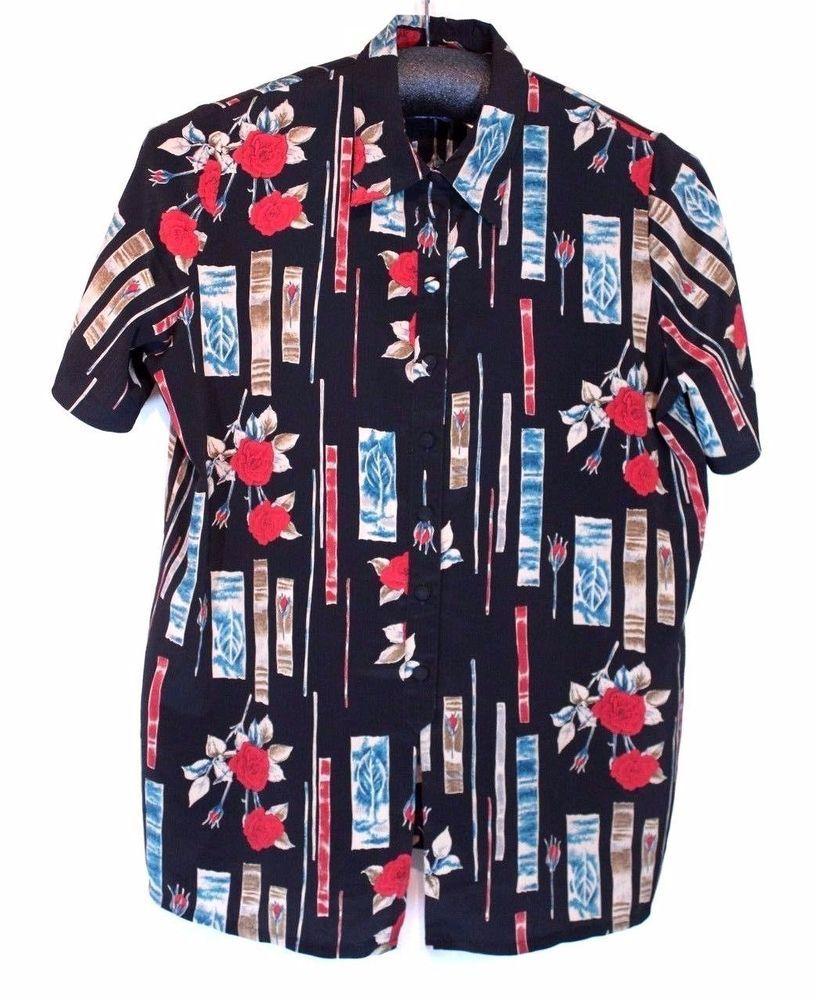 Christie & Jill Size 3X Rose Print Floral Blouse Top Shirt Tunic Short Sleeve #ChristieJill #ButtonDownShirt #any