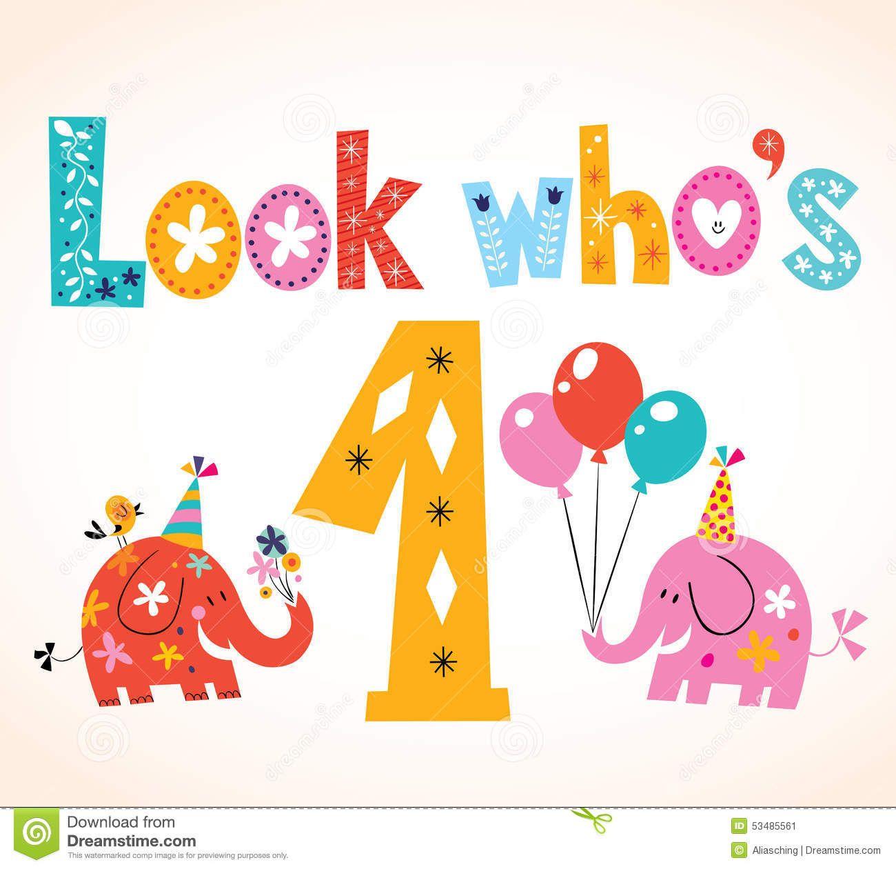stockvectorlookwhosonefirstbirthdaycardq1EPHwclipartjpg – Happy 1st Birthday Card