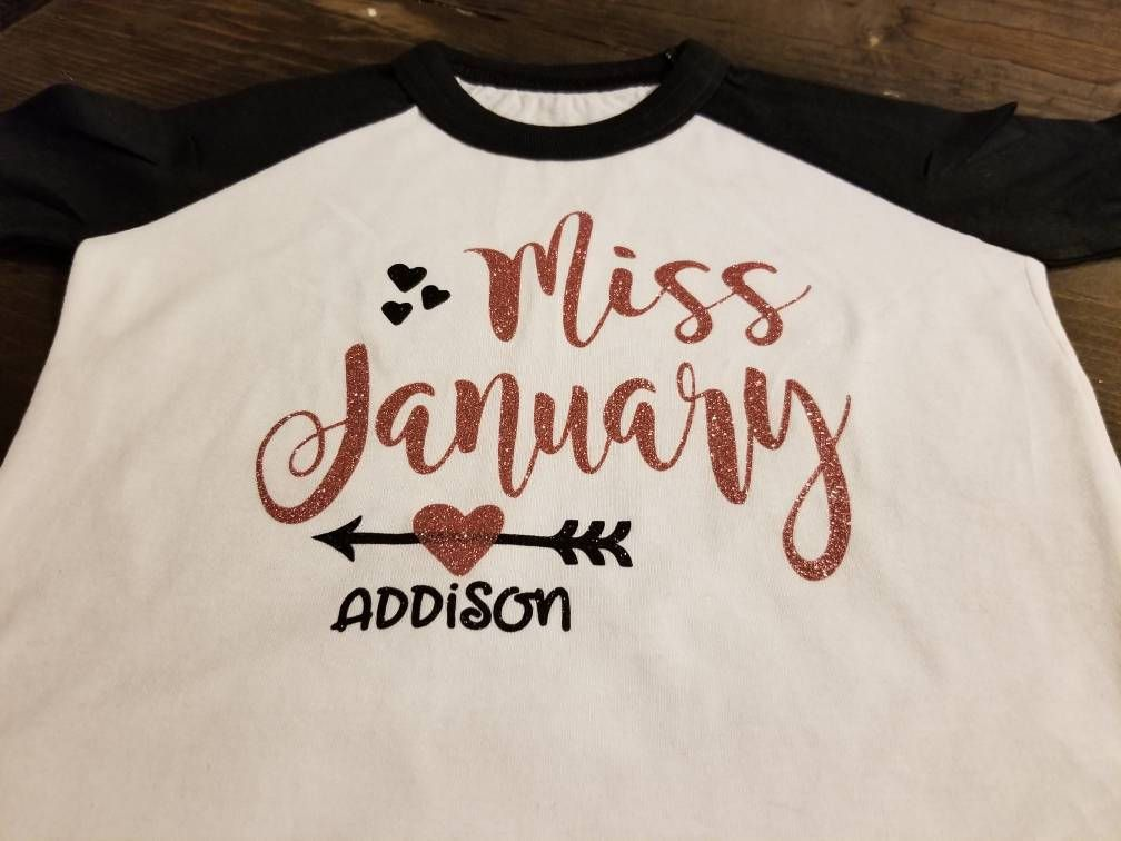 Miss January Shirt Girls Birthday Personalized Baby 1st Outfit Newborn Gift By SpunkySparkles