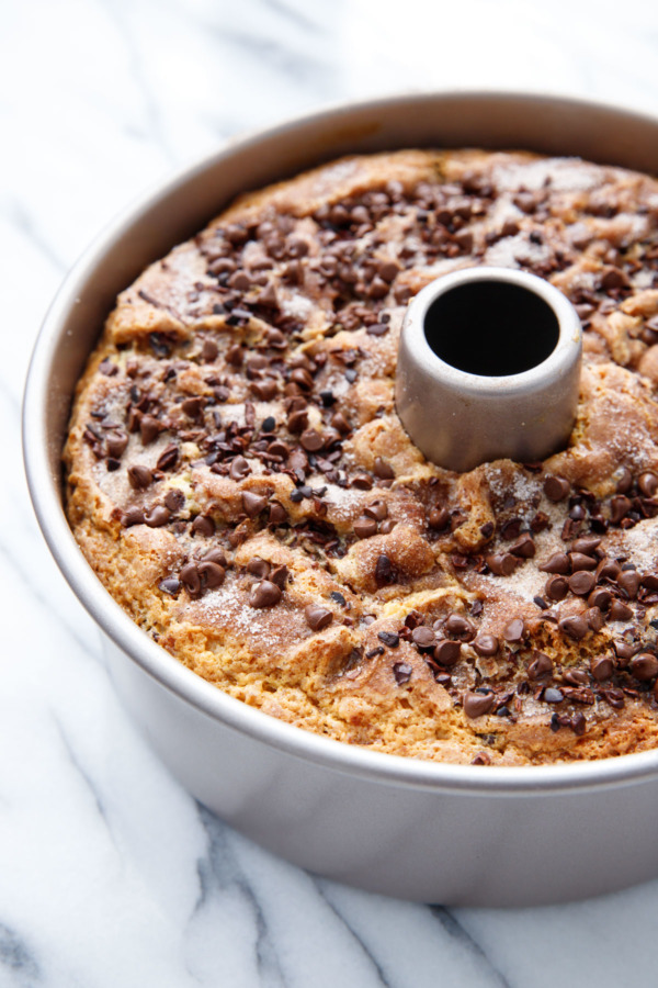 Sour Cream Chocolate Chip Coffee Cake Love And Olive Oil Recipe Chocolate Chip Coffee Cake Recipe Healthy Sour Cream Coffee Cake