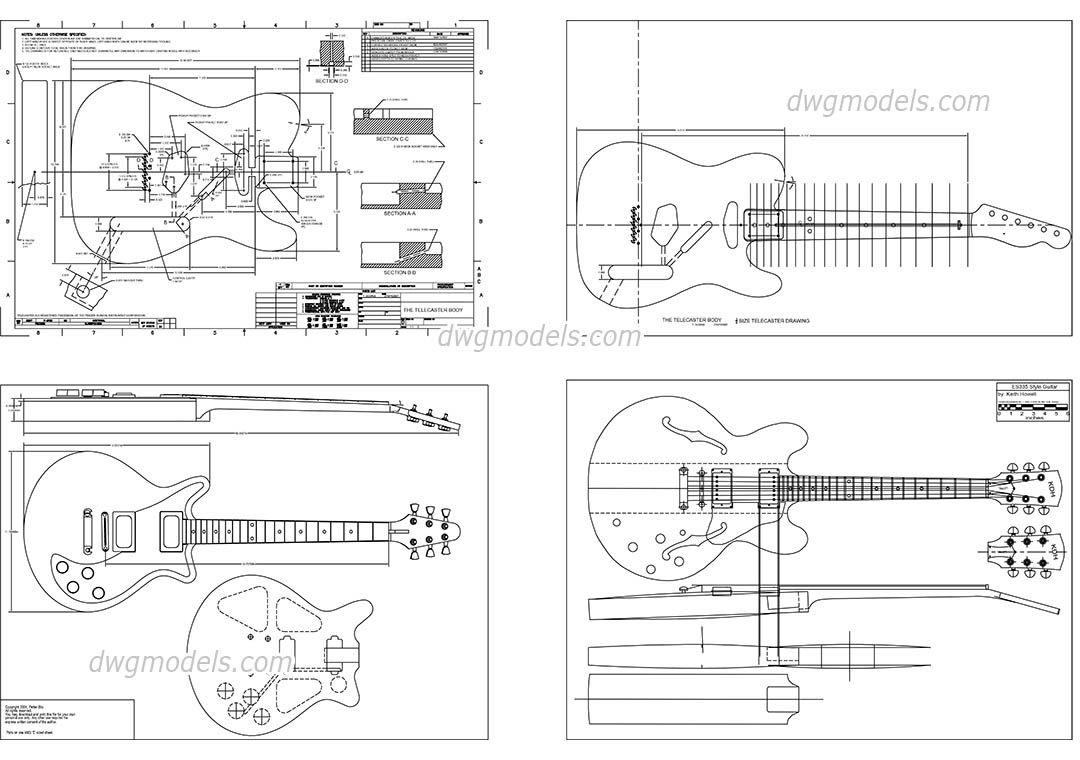 Guitar - CAD Blocks, free dwg file. | AUTOCAD | Pinterest | Guitars ...