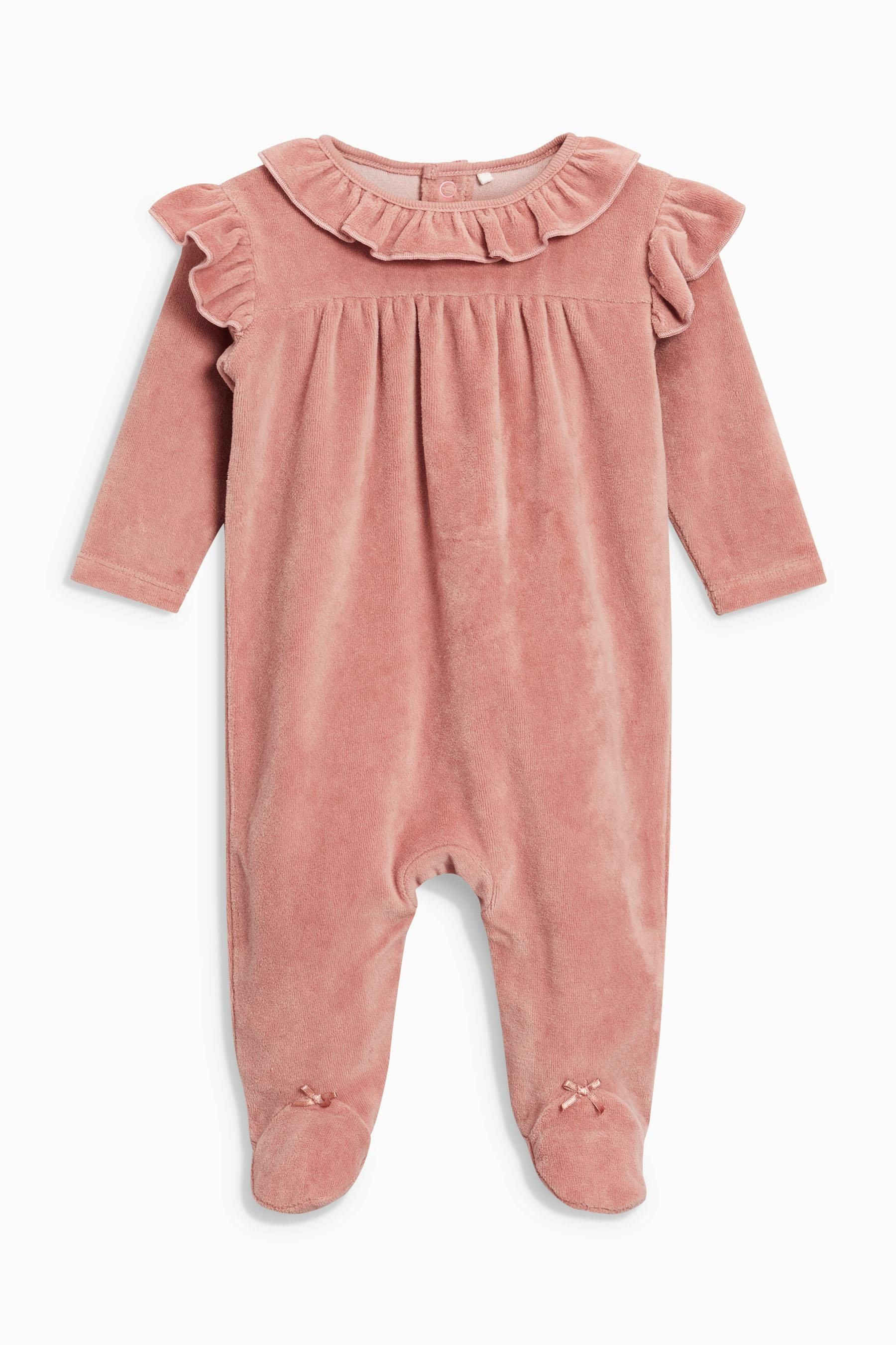 78371a420 Buy Pink Frill Velour Sleepsuit (0mths-2yrs) from the Next UK online shop