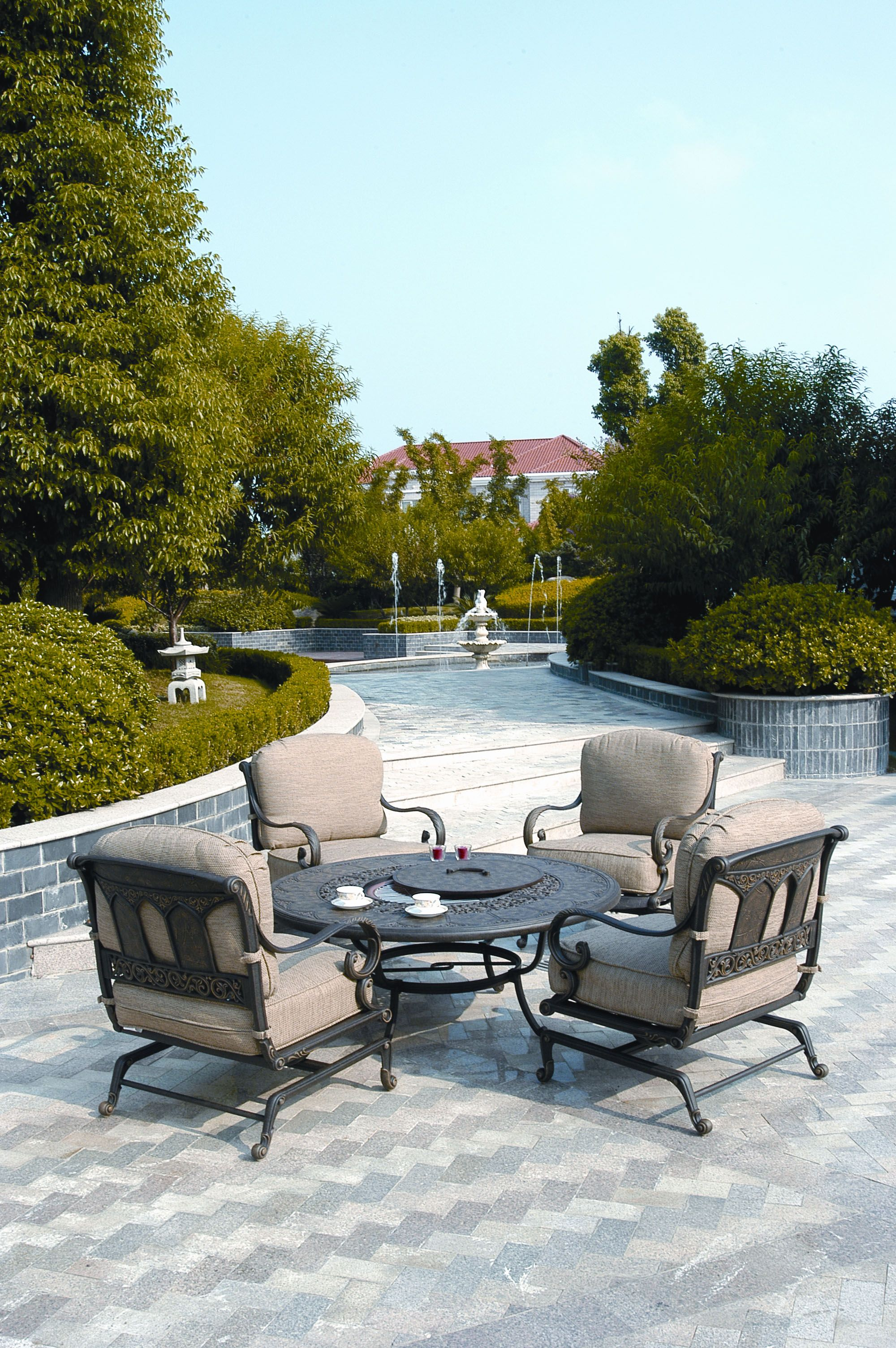 Deep Seating Patio Furniture Cushions: St. Moritz Collection. Rust Proof Cast Aluminum