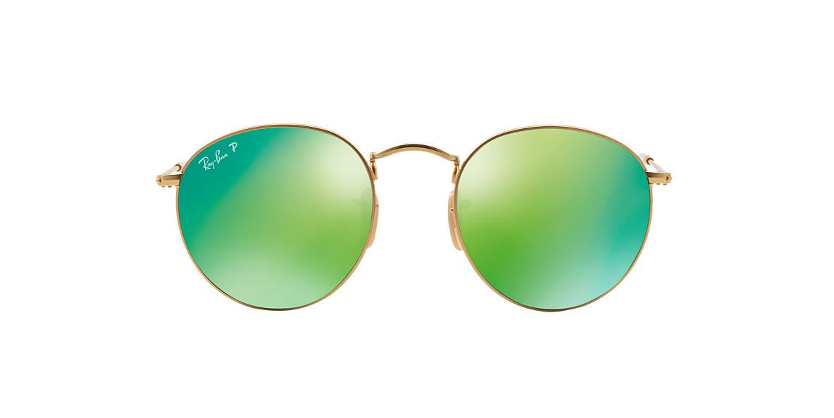 broken ray ban sunglasses  RAY-BAN Gold Matte RB3447 50 ROUND METAL Green polarized lenses ...