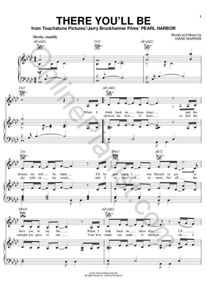 There You Ll Be Pearl Harbor Piano Sheet Music By Faith Hill At Onlinepianist Partition Musique Musique Piano Musique