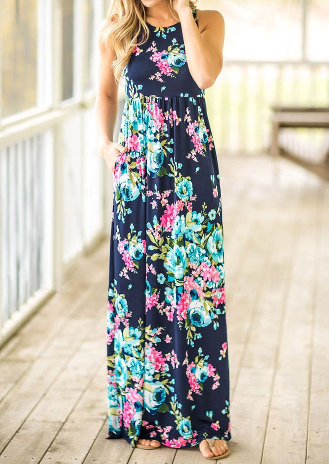 123e986a921a Floral Pocket Sleeveless Maxi Dress - Fairyseason