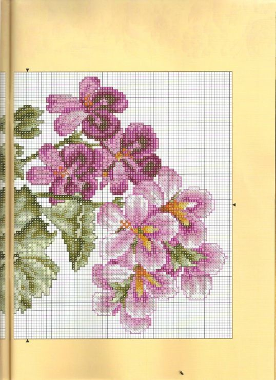 Cross stitch - flowers: Geranium in a vase (chart - part A)