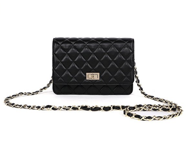 3768a9eb4d4 Knockoff Chanel Handbag under  40! Gemate Women s Genuine Leather Quilted  Chain Shoulder Bag
