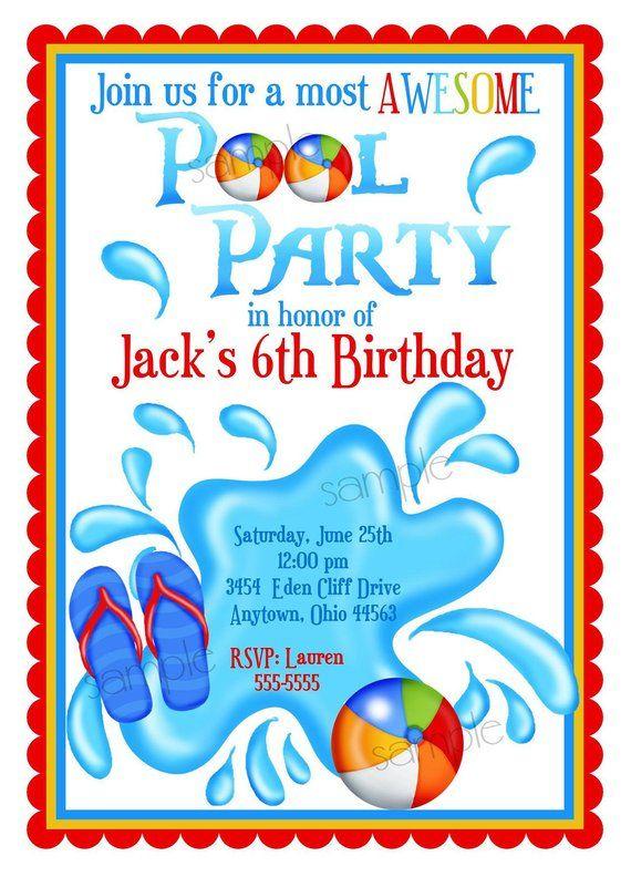 Pool Party Invitations Personalized Boys Summer Splash Beach Tropical Flip Flops
