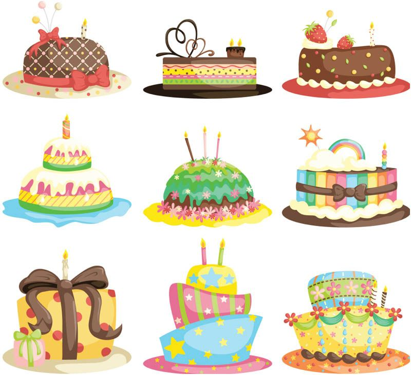 Cartoon Birthday Cake Vector Birthday Cake Illustration Cartoon Cupcakes Cartoon Birthday Cake