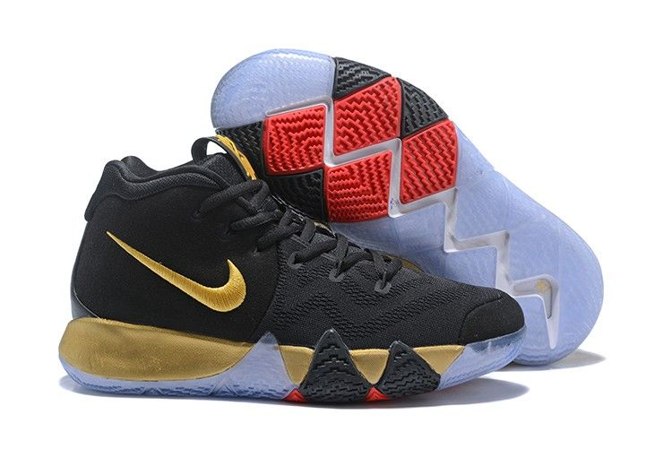 301d8392710b 2018 New Arrival Nike Kyrie 4 Black Gold Red Shoes For Sale