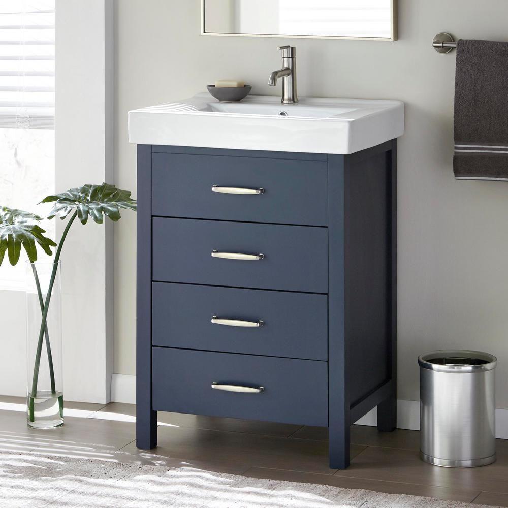 Home Decorators Collection Cedarton 24 In W X 18 In D Vanity In Midnight Blue With Ceramic Vanity Top In White With White Sink Cedarton 24mb The Home Depot 24 Inch