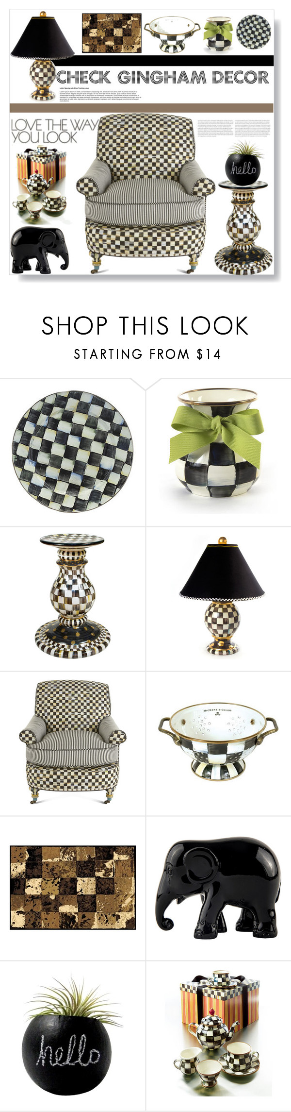 """""""CHECK GINGHAM DECOR AND FURNITURE"""" by purplerose27 ❤ liked on Polyvore featuring interior, interiors, interior design, home, home decor, interior decorating, MacKenzie-Childs, INC International Concepts, The Elephant Family and Dot & Bo"""