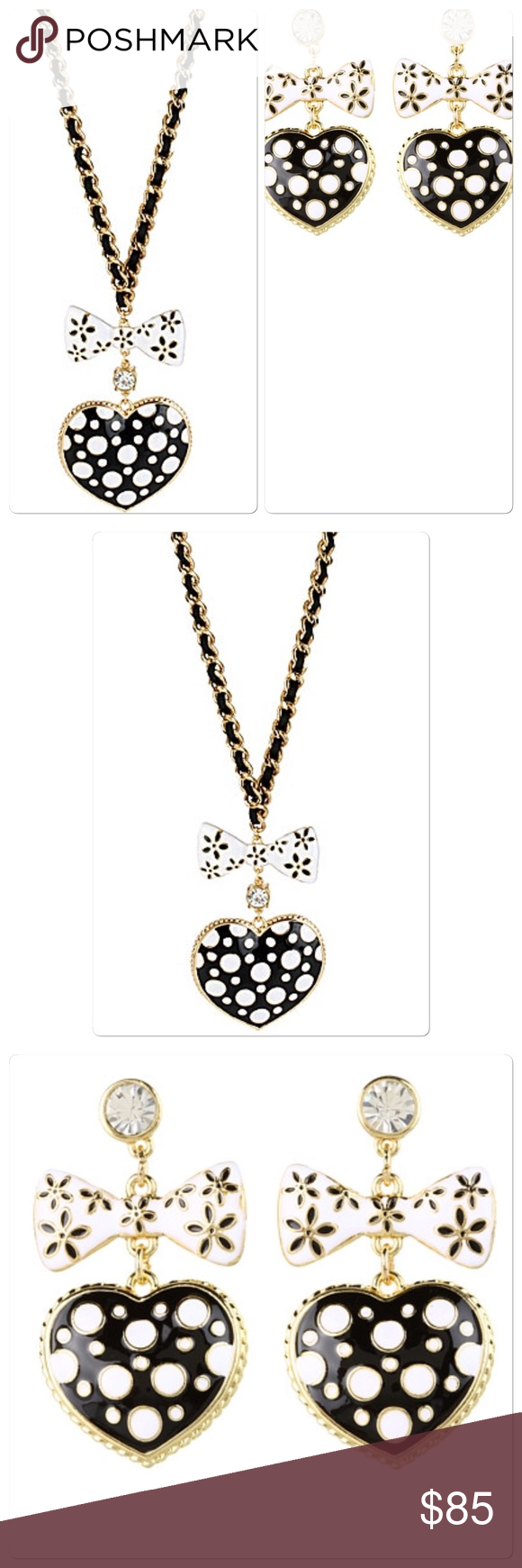 Betsey johnson necklace and earrings nwt betsey johnson and black gold