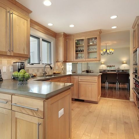 Light Maple Cabinets-- Countertop/Backsplash colour ideas ... on Backsplash Ideas For Maple Cabinets  id=69677