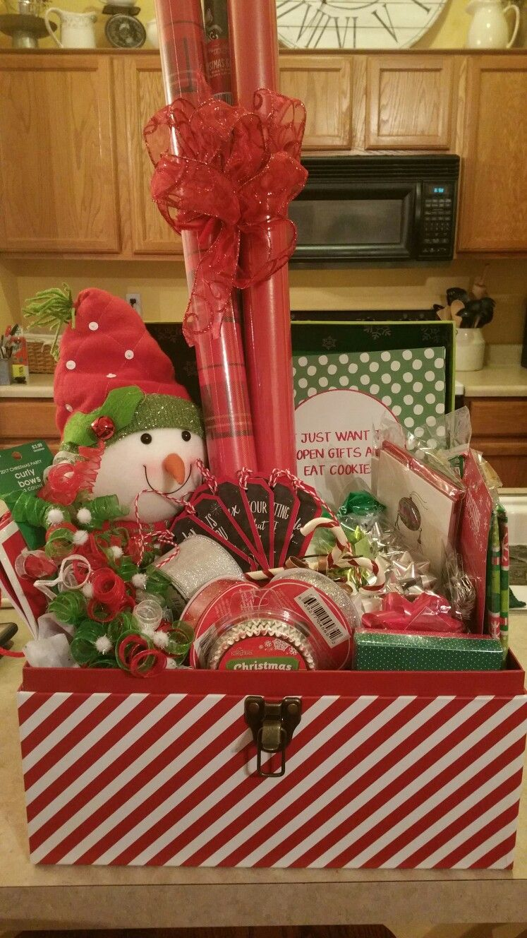 Christmas inspired raffle basket includes gift wrap and