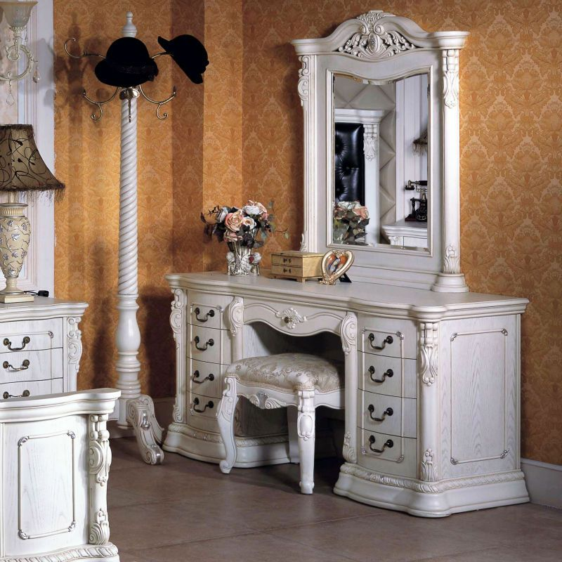 White Dresser Solid Wood With Vanity Mirror Chair