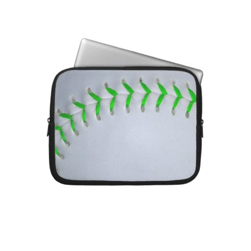 Bright Green Stitches Baseball / Softball Laptop Sleeve