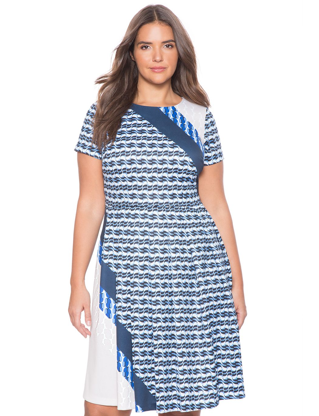 51785a1c5aca Placed Print Fit and Flare Dress | Women's Plus Size Dresses | ELOQUII