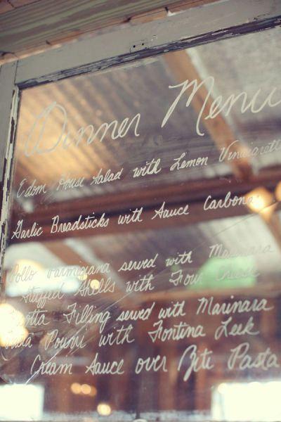 Stone Oak Ranch - Dinner Menu (or Program) on vintage glass window | Style Me Pretty | Gallery | Picture | #201024