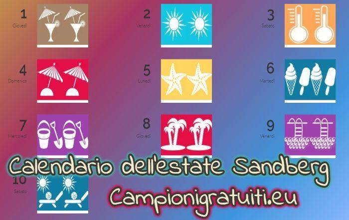 Calendario dell'estate Sandberg vinci premi ogni giorno