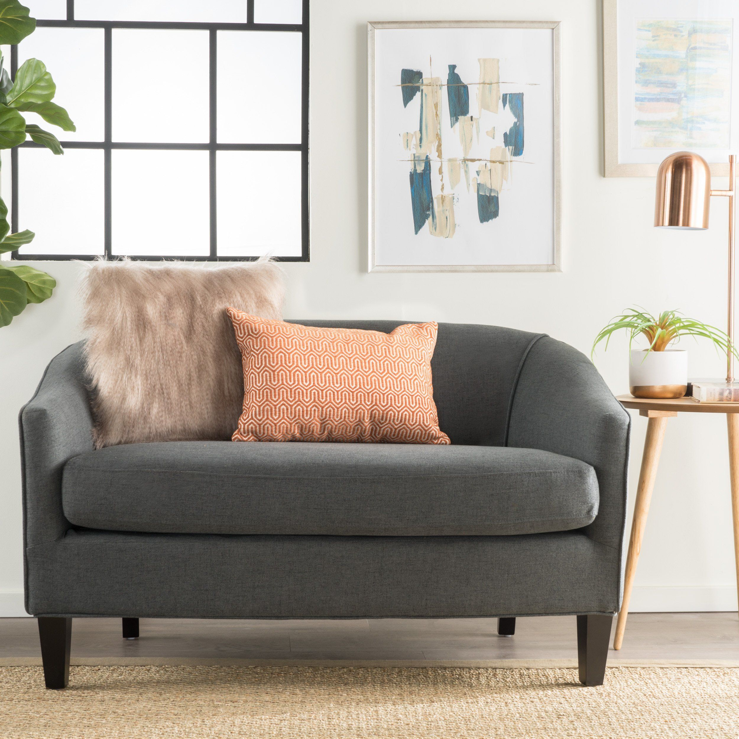 button century dark tufted seater mid harper modern walnut petite studio upholstered loveseat fabric grey ls baxton wood