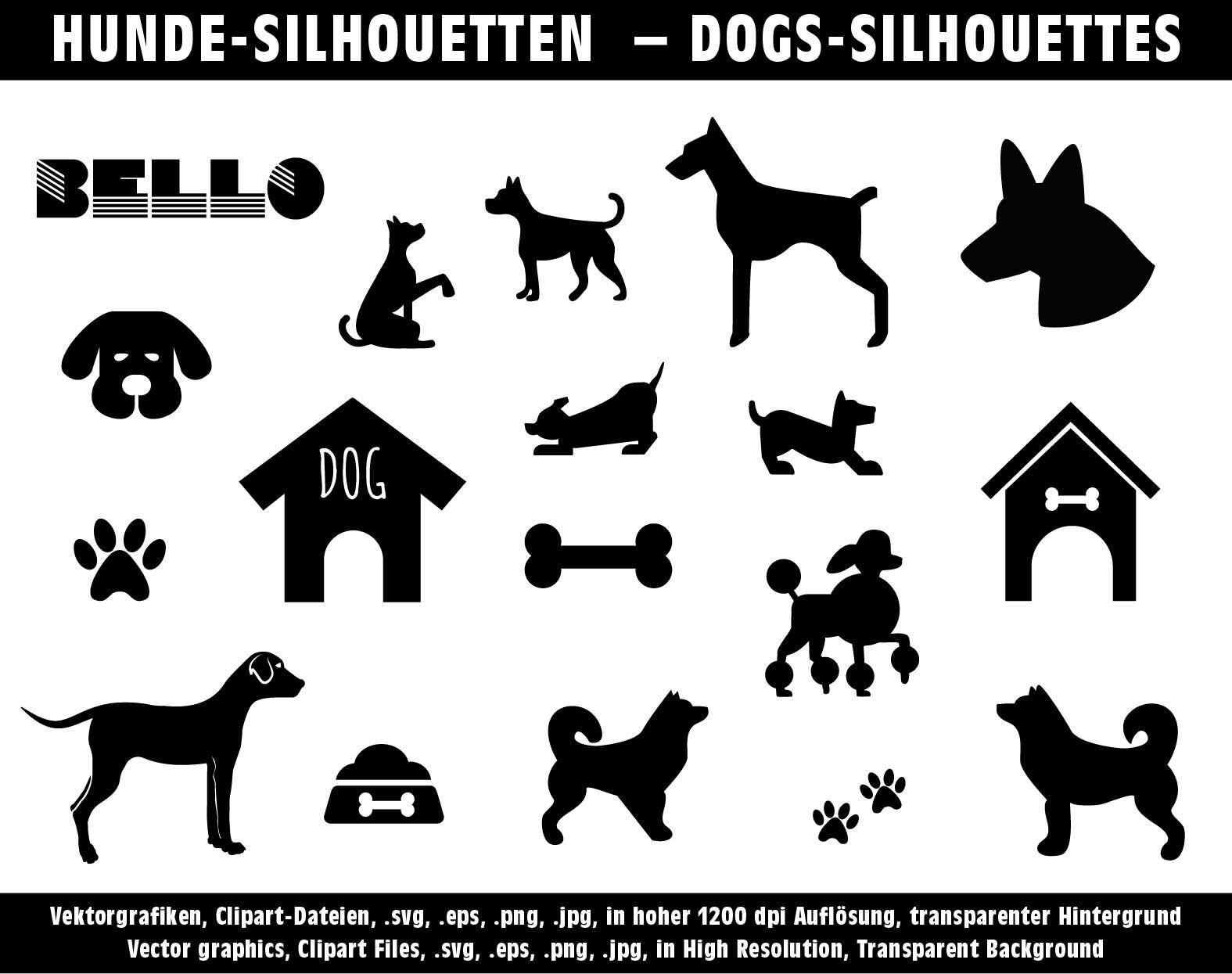 hunde vektor grafik clip art dogs clipart silhouetten in etsy silhouette vektorgrafik illustrator logo
