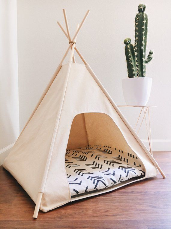 24″ Small Dog/Cat Teepee Pet Tent – 24″ base Natural, Grey, or Black Canvas PICK YOUR PILLOW or Custom Order it